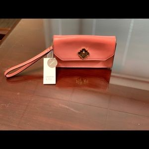 Leather Wristlet, Sorbet Smooth color. New